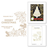 Holiday Florals Background Glimmer Hot Foil Plate from the Christmas Traditions Collection