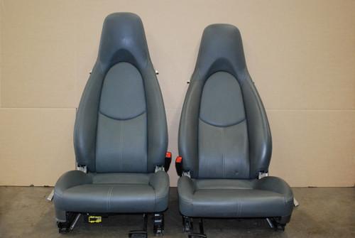 Factory Porsche 997 987 Cayman Seats 2 way power Grey Leather OEM 911 997 Gray