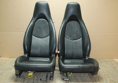 Porsche 987c Cayman BLACK Perforated Leather Seats 2 way Power 06-11 LEFT RIGHT