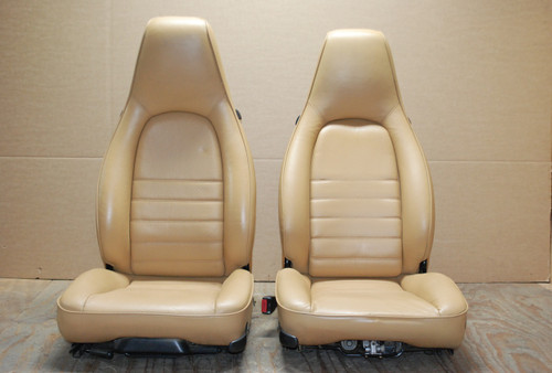 Porsche 911 964 Carrera Tan Sand Beige Leather Seats LEFT RIGHT Factory OEM