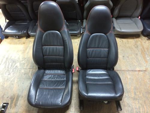 Pair Supple Leather 8-way Porsche 996 Memory Seats Black Red Stitching