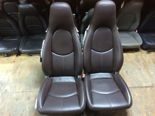 Pair 997/987 Perf Leather 2-way Porsche Seats Brown/Chocolate