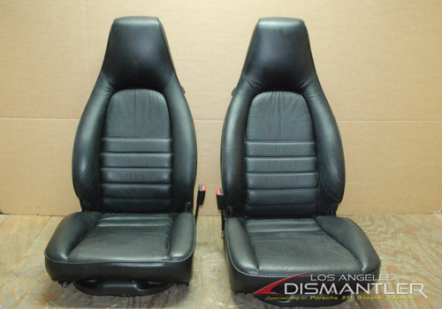 Porsche 911 964 Carrera Black 8 Way Leather Seats Pair LEFT RIGHT Factory OEM