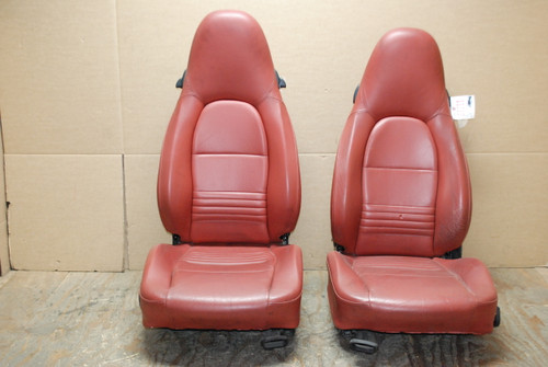 Porsche 911 996 Carrera Lobster Red Perforated Leather Seats OEM