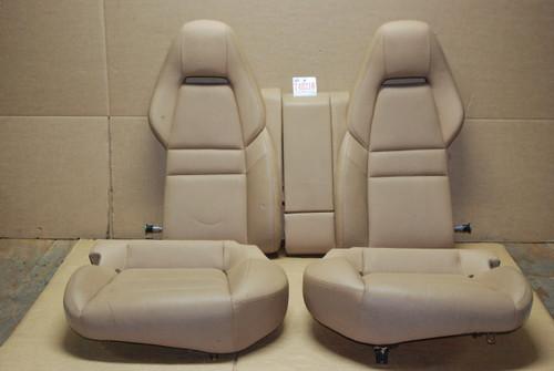 Porsche 970 Panamera Tan Rear Seat Set (4) Backrest & Seat Cushions