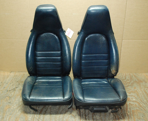 Porsche 911 964 Carrera Blue Perforated Leather Seats manual & 6 way power OEM