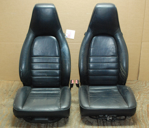 Porsche 911 964 Carrera Blue Perforated Leather Seats 8x12 way power OEM