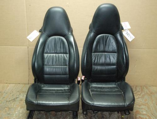 Porsche 911 996 Carrera Seats Black Supple Leather OEM