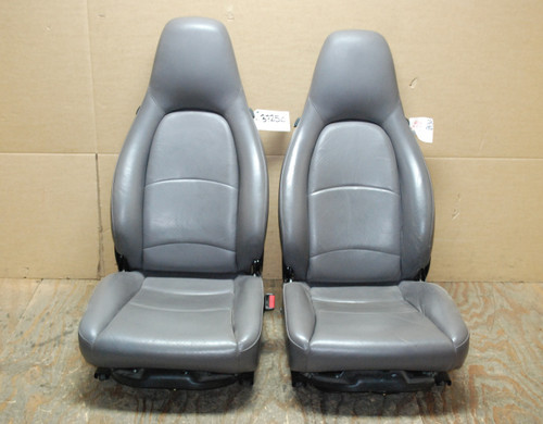 Porsche 911 993 Carrera Seats Grey Perforated Leather 8x8 way power. Factory OEM