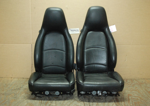 Porsche 911 993 Carrera Seats Black Perforated Leather 4x8 way power, Factory OEM