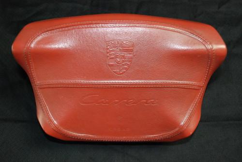 "Porsche 911 993 996 Red Leather Stitched ""Carrera"" Script Steering wheel Airbag"