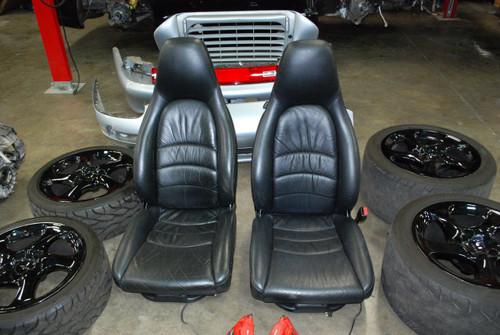 Porsche 911 993 Turbo 8 way Power Black Supple Leather Seats