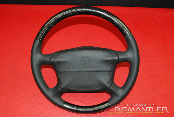 Porsche 911 993 Turbo S Carbon Fiber Black Leather Steering Wheel + Airbag OEM