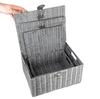 Storage Basket Hamper Resin Woven Grey  Box With Lid & Lock