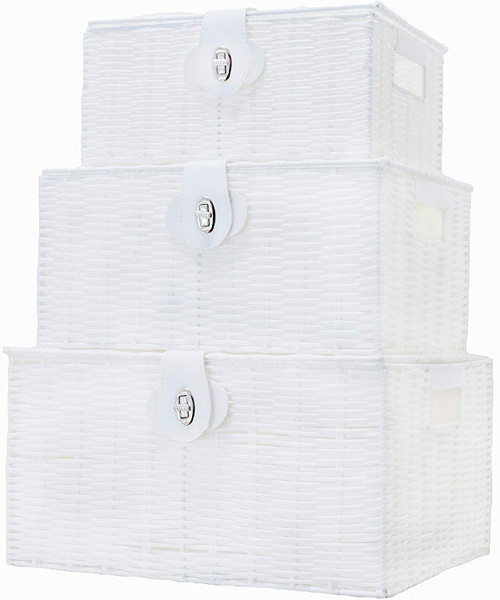 Storage Basket Hamper Resin Woven White Set of 3 Box With Lid & Lock