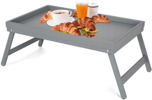 Bamboo Bed Tray, Folding Legs, Bed and Serving Grey