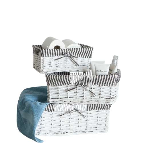 Set of 3 Wicker Storage Baskets with Removable Stripe Fabric Lining White
