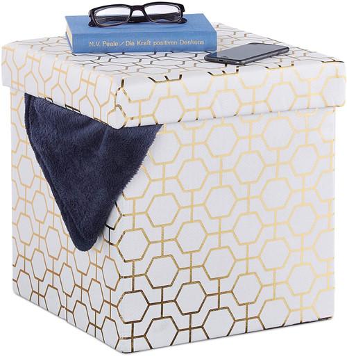 Folding Cube Seat, Padded Ottoman with Lid, Geometric Pattern, Storage Space,