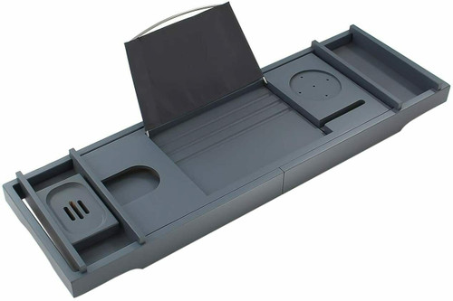 Grey Extendable Bamboo Bath Caddy Adjustable Home Spa Wooden Bath Tray