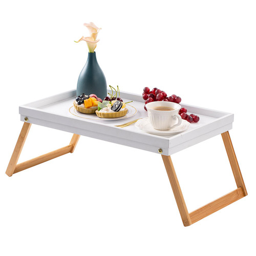 White / Natural Bamboo Serving Tray Folding Legs