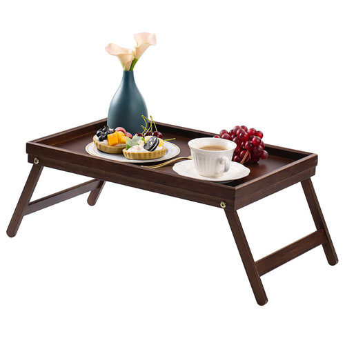 Brown Bamboo Serving Tray Folding Legs
