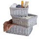 Set of 3 Wicker Storage Baskets with Removable Stripe Fabric Lining
