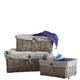 Brown Wicker Storage Basket White Lining Xmas Gift Hamper Basket - in 3 Sizes