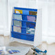 Wooden Kids Childrens Book Shelf Sling Storage Rack Blue