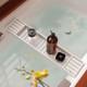Eco-Friendly Slimline Bamboo Bath Bridge Rack Caddy Shelf- White