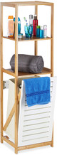 Bathroom Shelf with Laundry Hamper Freestanding, 3 Compartments, Natural