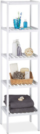 Bamboo Bath Rack with 5 tiers Freestanding Unit, Kitchen Shelves,