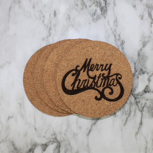 Merry Christmas Cork Coasters