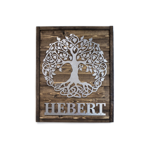 Personalized Family Tree Of Life Metal and Wood Sign