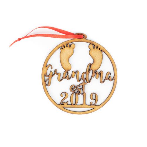 Grandma Est 2019 Wood Christmas Ornament