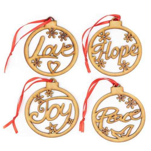 Love Hope Joy Peace Set Wood Christmas Ornament