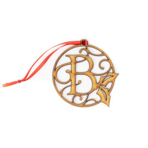 Monogram Wood Christmas Ornament