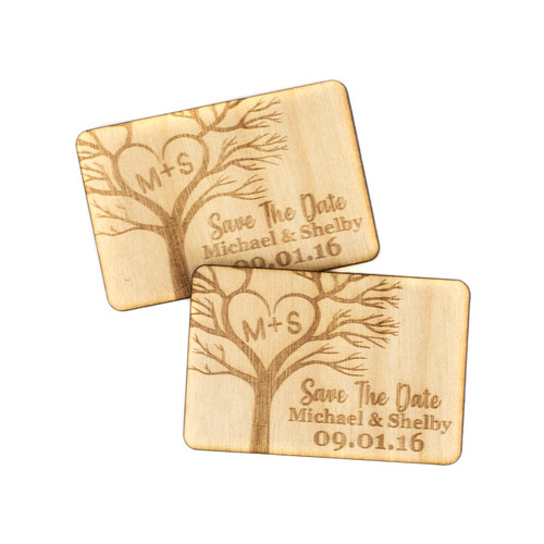 Tree Wood Save The Date Magnets