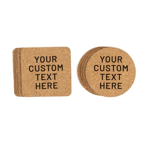 Custom Personalized Bulk Promotional Cork Coasters Baum Designs