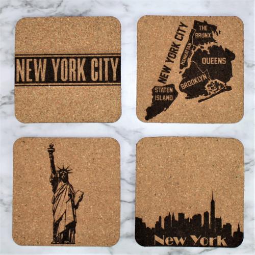 New York Themed Cork Coasters Set