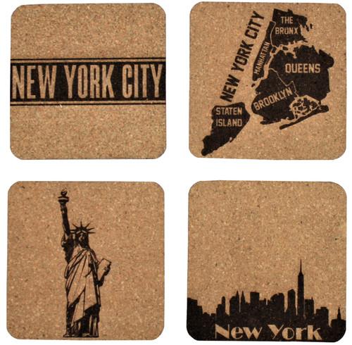New York Themed Cork Coasters Set Baum Designs