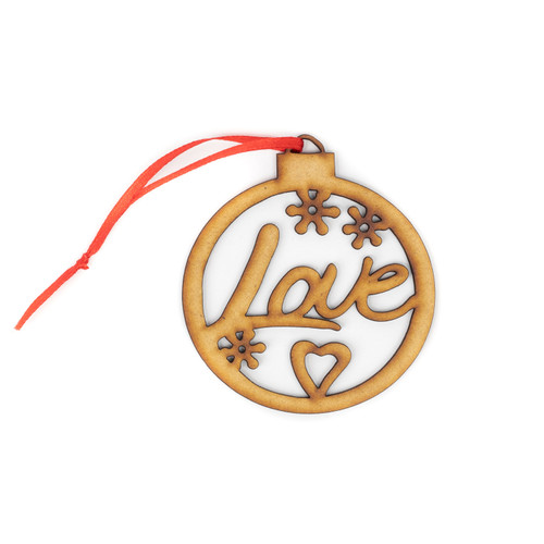 Love Wood Christmas Ornament