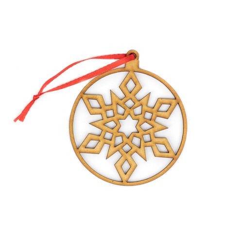 Aztec Snowflake Wood Christmas Ornament