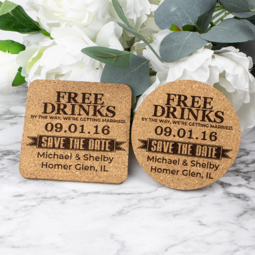 Free Drinks Save The Date Cork Coasters
