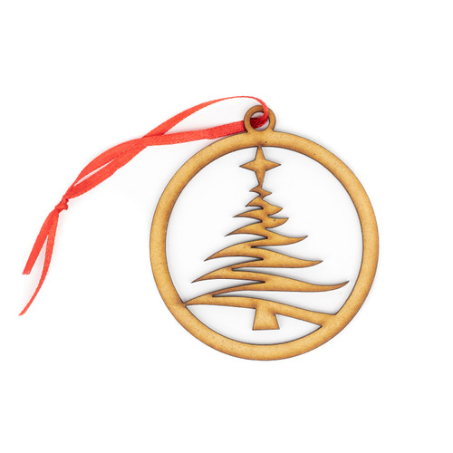 Swirly Christmas Tree Wood Christmas Ornament