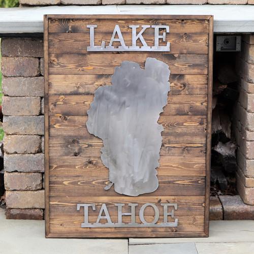 Lake Tahoe - Large Metal & Wood Sign