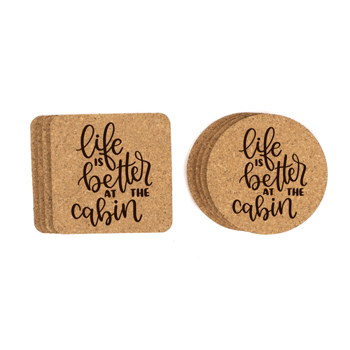 Life Is Better At The Cabin Cork Coasters Baum Designs