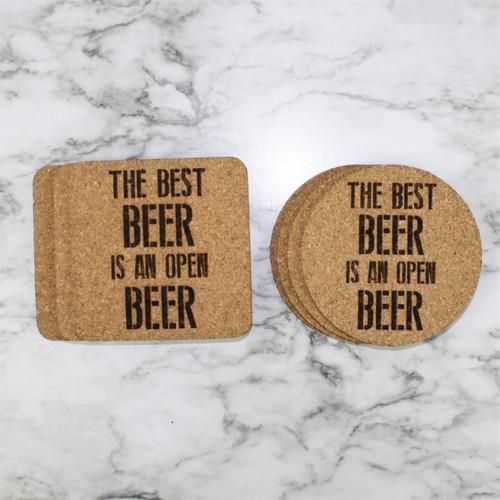 The Best Beer Is An Open Beer Cork Coasters