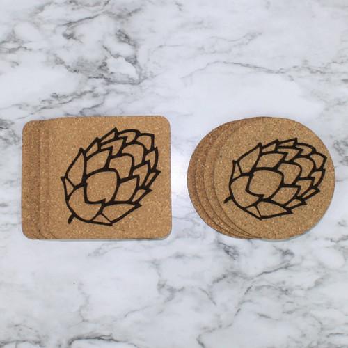Beer Hops Cork Coasters