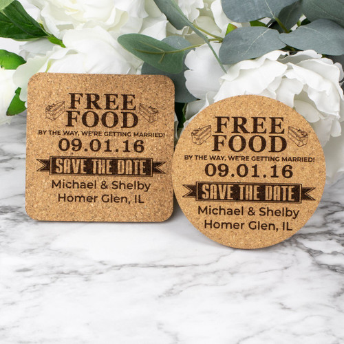 Free Food Save The Date Cork Coasters