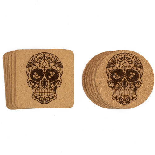 Sugar Skull Cork Coasters